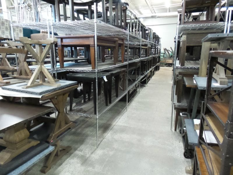 Rows of Occasional Wooden Tables